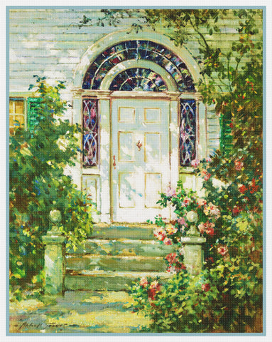 Ogunquit Maine Door Way By  Abbott Fuller Graves Counted Cross Stitch Pattern