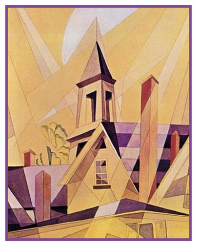 Church in Provincetown Cubist Precisionism by American Artist Charles Demuth Counted Cross Stitch or Counted Needlepoint Pattern