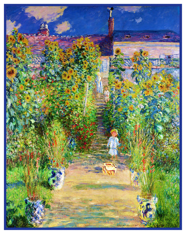 The Garden at Vetheuil inspired by Claude Monet's impressionist painting Counted Cross Stitch Pattern