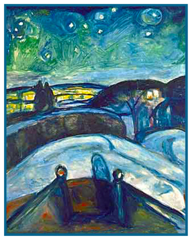 A Starry Starry Night by Symbolist Artist Edvard Munch Counted Cross Stitch Pattern