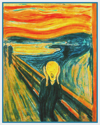 Symbolist Artist Edvard Munch's The Scream Counted Cross Stitch Pattern
