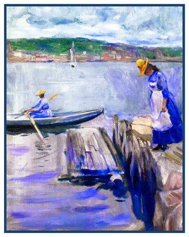 A Summer Day on the Pier by Symbolist Artist Edvard Munch Counted Cross Stitch Pattern