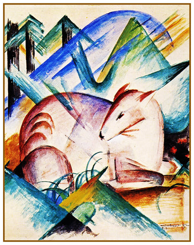 A Red Deer by Expressionist Artis Franz Marc Counted Cross Stitch or Counted Needlepoint Pattern