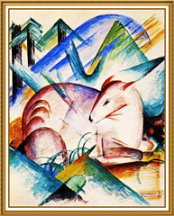 A Red Deer by Expressionist Artis Franz Marc Counted Cross Stitch or Counted Needlepoint Pattern - Orenco Originals LLC