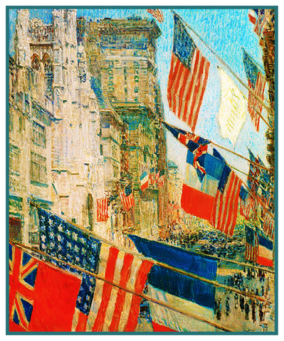 Flags Allies Day May 1917 by American Impressionist Painter Childe Hassam Counted Cross Stitch Pattern