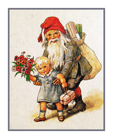 Elf Gnome Baby Presents Flower Bouquet Jenny Nystrom  Holiday Christmas Counted Cross Stitch Pattern