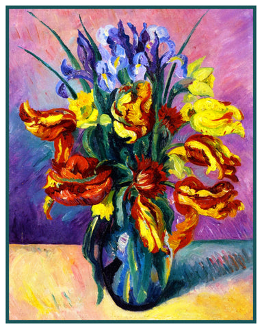 Art Nouveau Colorful Parrot Tulips and Iris Flowers Counted Cross Stitch Pattern