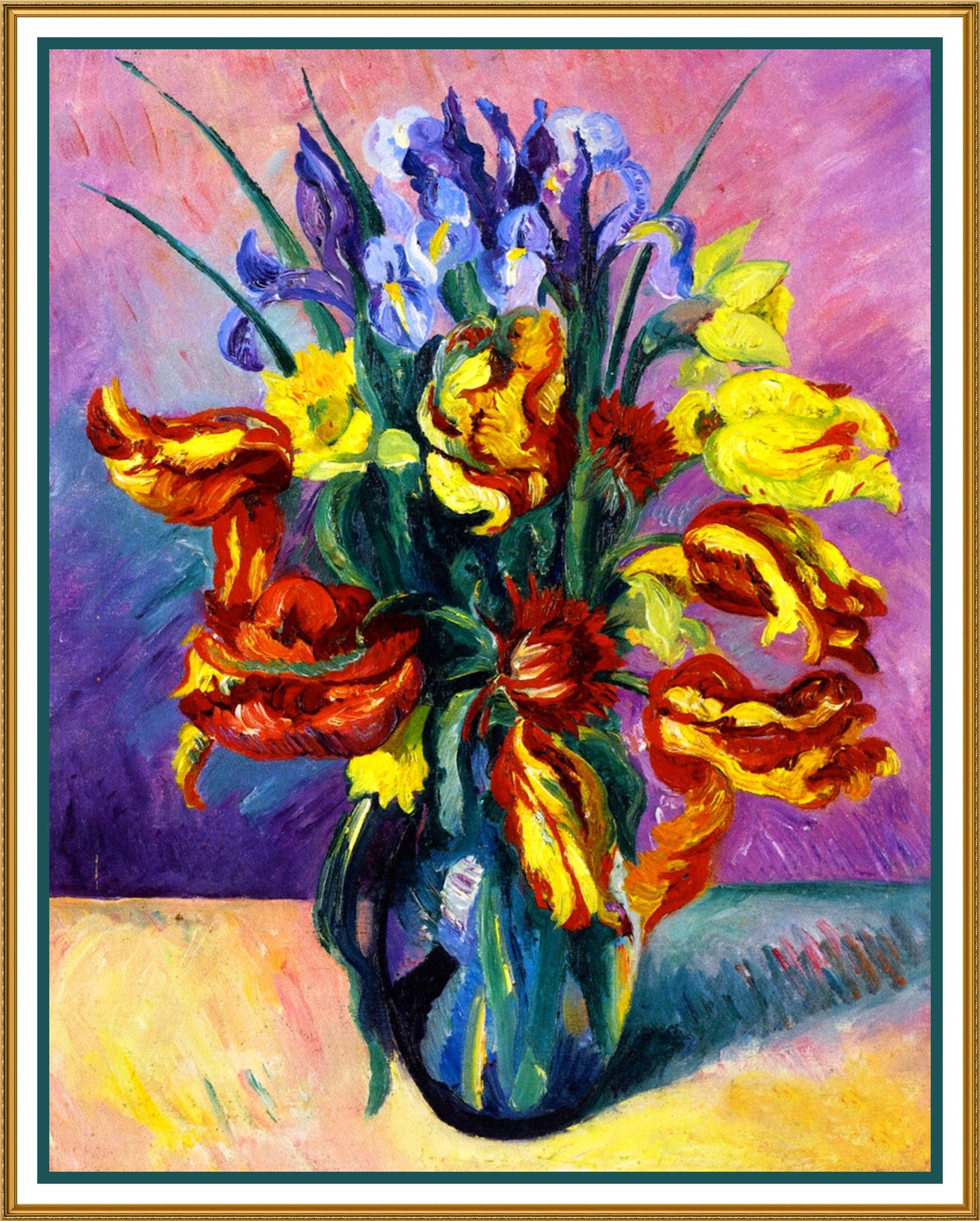 Art nouveau colorful parrot tulips and iris flowers counted cross art nouveau colorful parrot tulips and iris flowers counted cross stitch or counted needlepoint pattern izmirmasajfo