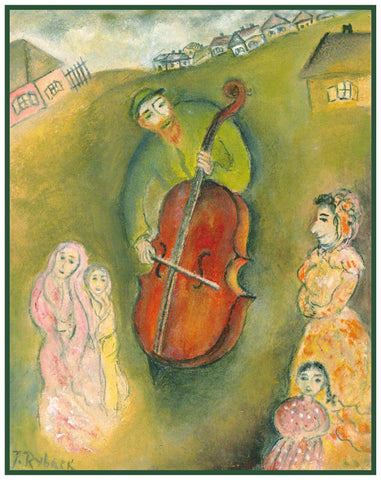 Playing the Cello For Wedding Guests by Russian Artist  Issachar Ber Ryback's Counted Cross Stitch Pattern