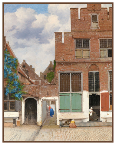 A Little Street in Delft by Johannes Vermeer Counted Cross Stitch or Counted Needlepoint Pattern