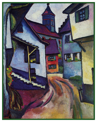 Bavarian Street with a Chuch by Expressionist Artist August Macke Counted Cross Stitch Pattern