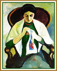 Woman Embroidering Sewing by Expressionist Artist August Macke Counted Cross Stitch or Counted Needlepoint Pattern