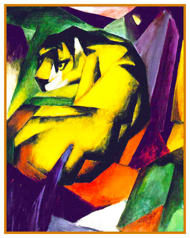 The Tiger by Expressionist Artis Franz Marc Counted Cross Stitch Pattern