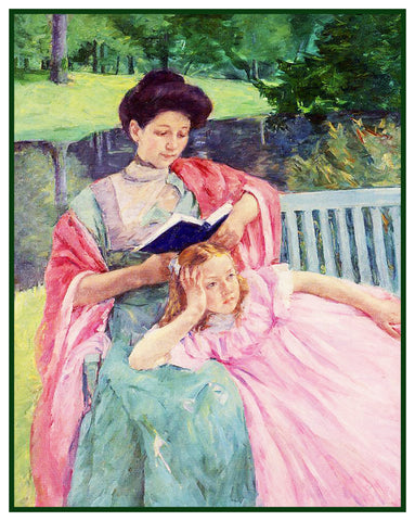 Augusta Reading to her Daughter by American impressionist artist Mary Cassatt Counted Cross Stitch Pattern