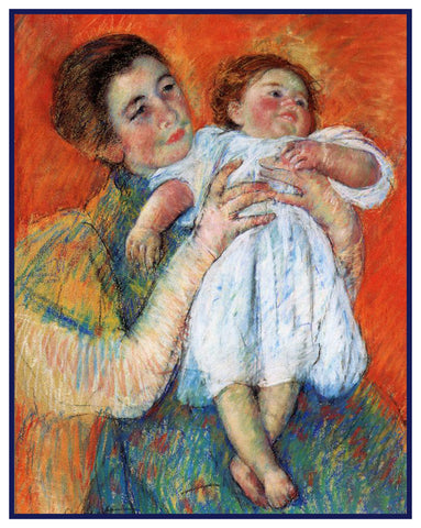 Mama and Barefoot Child by American impressionist artist Mary Cassatt Counted Cross Stitch Pattern