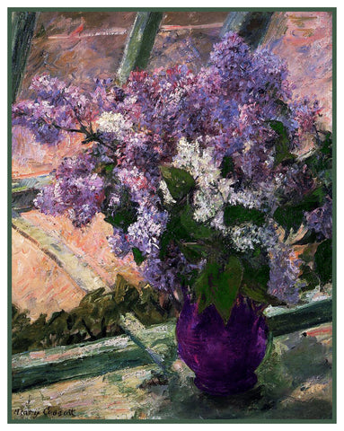 Lilac Flowers in the Window by American Impressionist artist Mary Cassatt Counted Cross Stitch Pattern DIGITAL DOWNLOAD