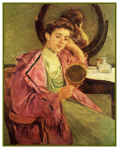 Woman Doing Her Hair by American Impressionist Artist Mary Cassatt Counted Cross Stitch Pattern