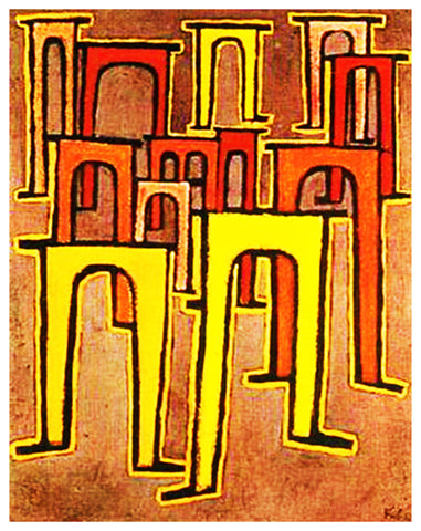 The Revolution of the Viaducts by Expressionist Artist Paul Klee Counted Cross Stitch Pattern