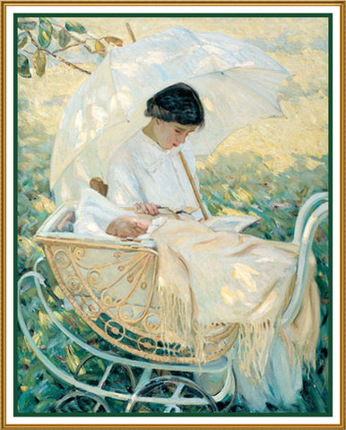 Mother and Baby in the Garden by American Impressionist Artist Mary Cassatt Counted Cross Stitch Pattern