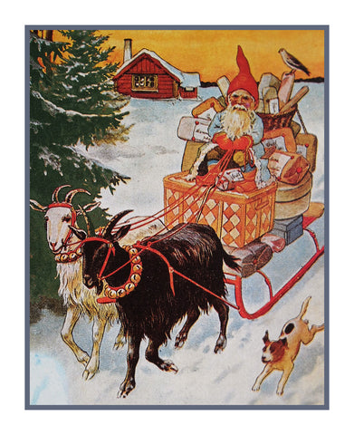 Elf Gnome Delivering Presents on Goat Sled Jenny Nystrom  Holiday Christmas Counted Cross Stitch or Counted Needlepoint Pattern