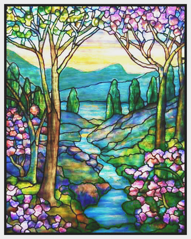 Mountain and Stream Landscape detail inspired by Louis Comfort Tiffany  Counted Cross Stitch Pattern