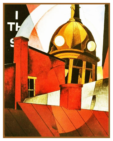 Welcome to Our City Cubist Precisionism by American Artist Charles Demuth Counted Cross Stitch Pattern