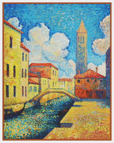 Henri-Edmond Cross Living Along a Venice Canal Orenco Originals Counted Cross Stitch Pattern