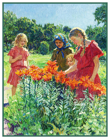 Picking Flowers Garden By Nikolay Bogdanov-Belsky Counted Cross Stitch Pattern