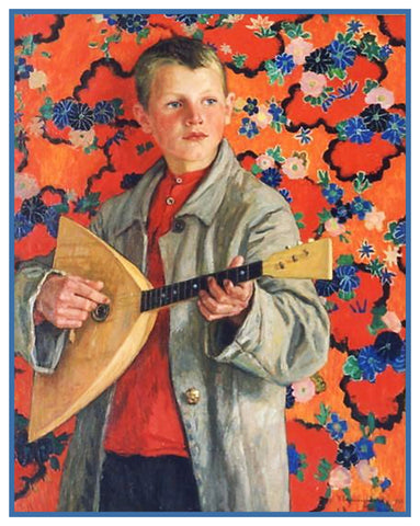 Boy Playing Balalaika By Nikolay Bogdanov-Belsky Counted Cross Stitch Pattern