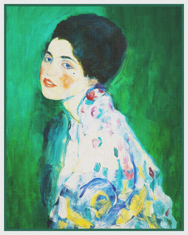 Art Nouveau Gustav Klimt Portrait of a Young Lady Counted Cross Stitch Pattern
