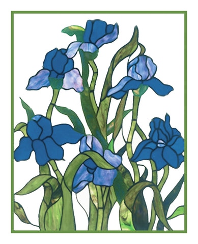 Blue Iris Flowers detail inspired by Louis Comfort Tiffany  Counted Cross Stitch Pattern