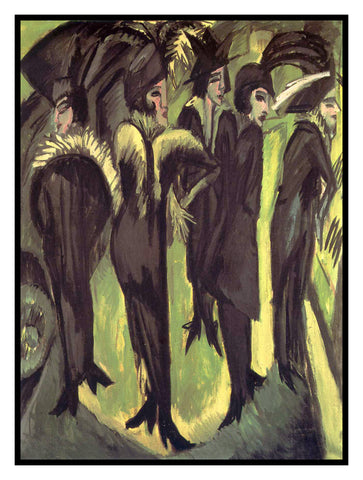 5 Women on a Berlin Street by Ernst Ludwig Kirchner Counted Cross Stitch or Counted Needlepoint Pattern