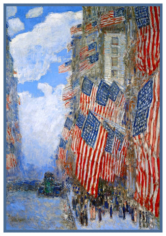 American Flags on July 4th by American Impressionist Painter Childe Hassam Counted Cross Stitch Pattern