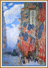 American Flags on July 4th by American Impressionist Painter Childe Hassam Counted Cross Stitch or Counted Needlepoint Pattern - Orenco Originals LLC