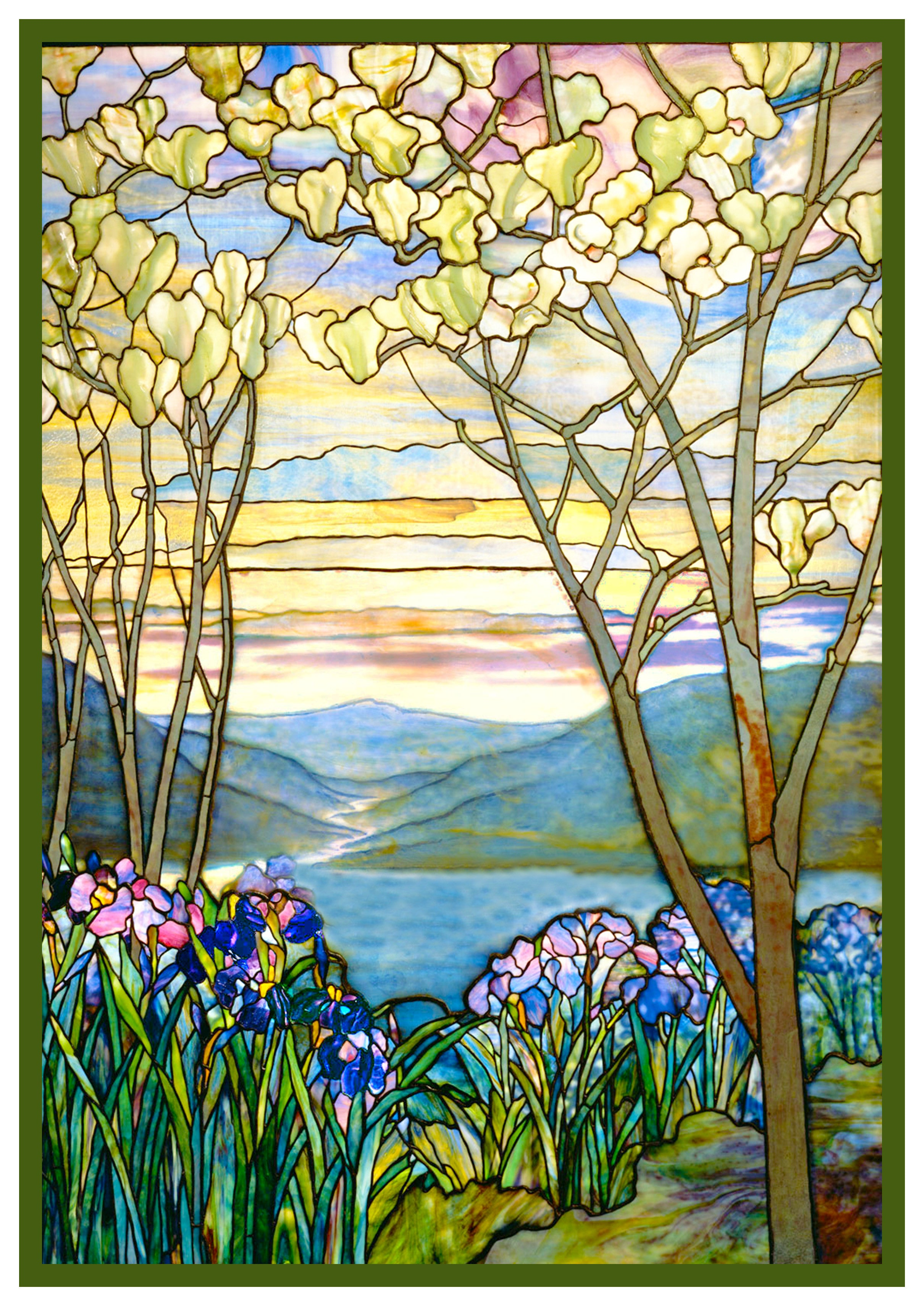 Iris Flowers And Magnolia Trees Inspired By Louis Comfort Tiffany