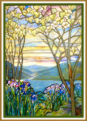 Iris Flowers and Magnolia Trees inspired by Louis Comfort Tiffany  Counted Cross Stitch or Counted Needlepoint Pattern