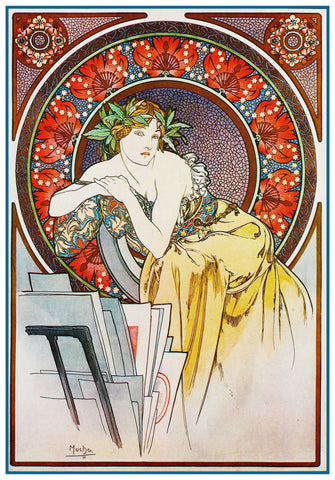 The Art Muse by Alphonse Mucha Counted Cross Stitch Pattern