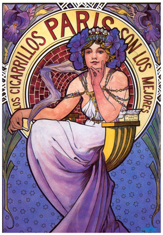 Cigarrillo Ad by Alphonse Mucha Counted Cross Stitch Pattern