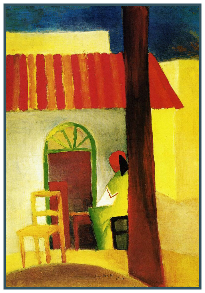 The Turkish Cafe by Expressionist Artist August Macke Counted Cross Stitch or Counted Needlepoint Pattern