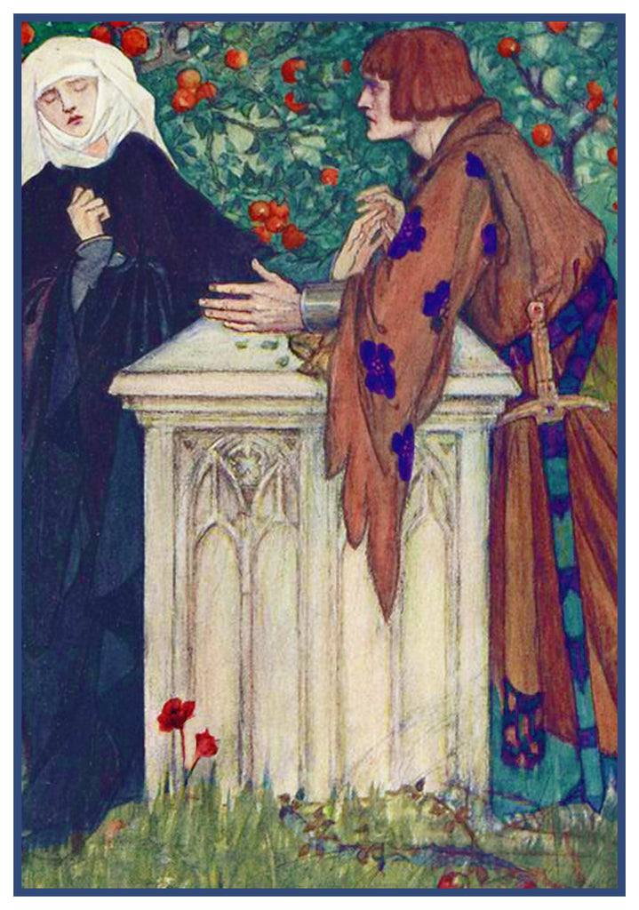 PreRaphaelite Florence Harrison Beneath Apple Tree Counted Cross Stitch Pattern