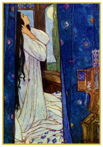 PreRaphaelite Florence Harrison Waking Heard Night Counted Cross Stitch Pattern
