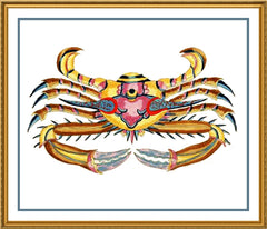 Fallours' Renard's Fantastic Colorful Tropical Crab Krabbe Counted Cross Stitch or Counted Needlepoint Pattern