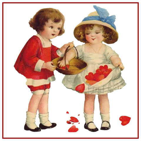 Ellen Clappsaddle's Boy Girl with Valentine Hearts Counted Cross Stitch Pattern