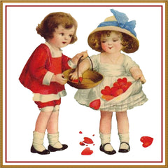 Ellen Clappsaddle's Boy Girl with Valentine Hearts Counted Cross Stitch or Counted Needlepoint Pattern