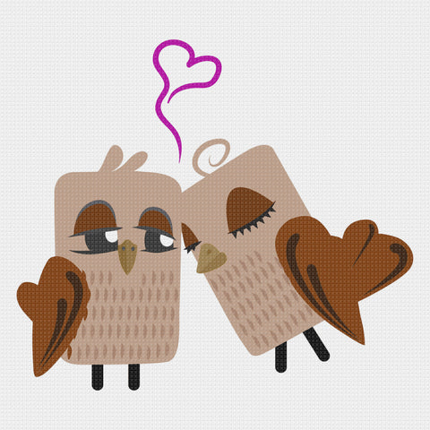 Contemporary Owls in Love Sew So Simple ™ Counted Cross Stitch or Counted Needlepoint Pattern