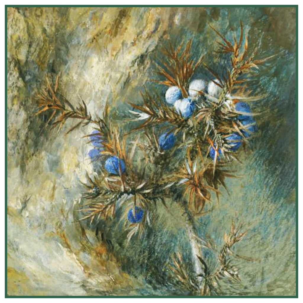 A Spray of Juniper Berries by John Ruskin Counted Cross Stitch or Counted Needlepoint Pattern