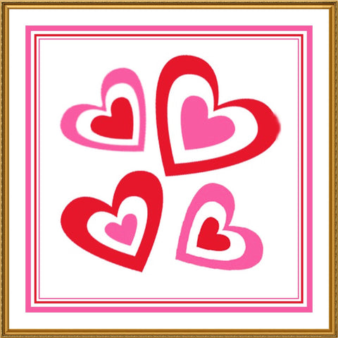 Colorful Valentine Hearts Love Sew So Simple ™ Counted Cross Stitch or Counted Needlepoint Pattern