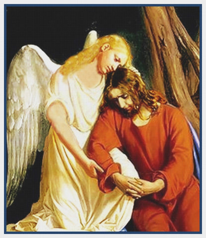 Jesus Praying With an Angel Gesthemane detail by Bloch Counted Cross Stitch Pattern