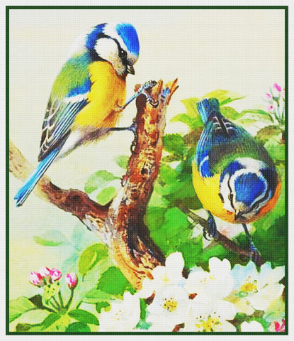 Bluetits and Blossoms By Naturalist Archibald Thorburn's Counted Cross Stitch Pattern