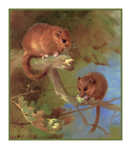 Dormice Mouse by Naturalist Archibald Thorburn's Animals Counted Cross Stitch or Counted Needlepoint Pattern